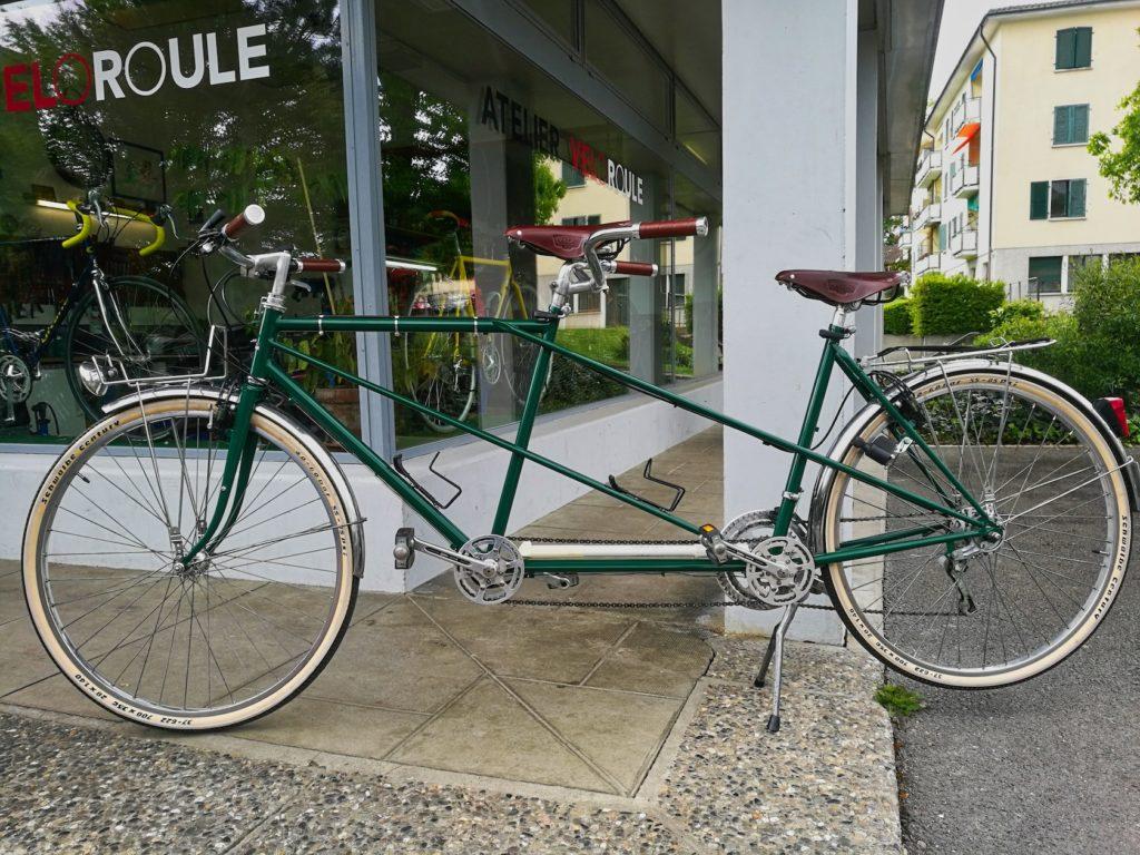 Rénovation vélo ancien tandem - Atelier Veloroule Genève